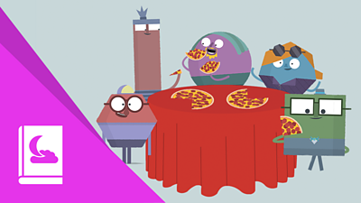 Xiao Ming and his friends eat pizza around a table.