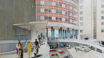 A watercolour of the front of BBC TV Centre.