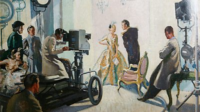 A watercolour painting of a cameraman on a wheeled dolly pointing at actors in Regency costume.