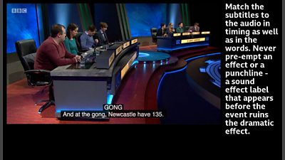 Screen grab with subtitles showing a sound effect label