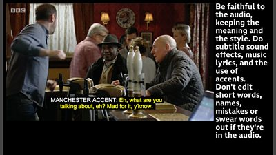 screen grab showing a pub scene from eastenders with subtitles