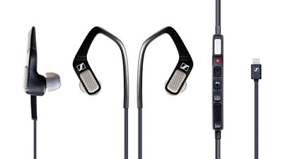 A smart headset showing the in-ear headphones and corded remote control