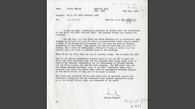 Typewritten internal memo from Barrie Thorne (transcribed in article)