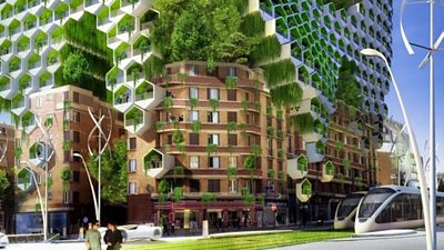 Futuristic cityscape with green trees and sleek trains