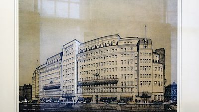 Watercolour of Broadcasting House - Cyril Farey