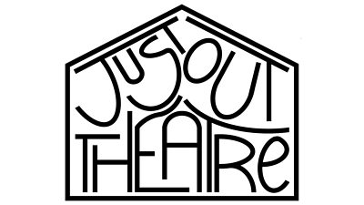 Just Out Theatre logo - the text squashed inside a house outline
