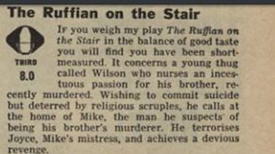 The Ruffian on the Stair, Monday 31 August 1964