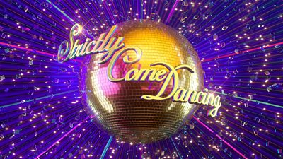 The Strcitly Come dancing logo, script lettering in front of a golden glitter ball surrounded by confetti