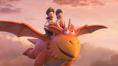 Gadabout and Pearl ride on Zog, the orange dragon, as he flies through the clouds