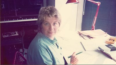 Victoria Wood writing at her desk in the 1980s