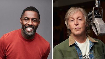 Idris Elba smiling, wearing a red jumper in front of a grey background; and Paul McCartney in a dark room standing at a microphone