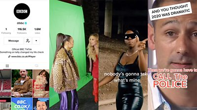 A composite of the BBC TikTok account, two members of Little Mix in front of a green screen, a clip from BBC Three of a female captioned