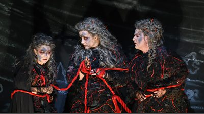 Claudia Huckle, Lise Davidsen and Irmgard Vilsmaier as Norns in Götterdämmerung
