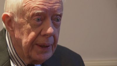 Jimmy Carter Makes Public Appearance With Black Eye Bbc News