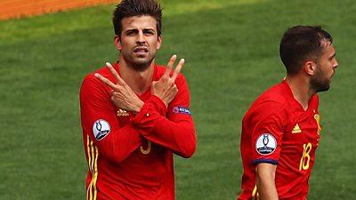 Gerard Pique of Spain celebrates