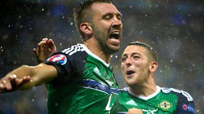 Gareth McAuley scores for Northern Ireland