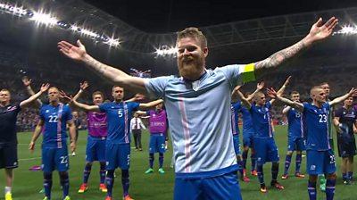 Aron Gunnarsson leads Iceland celebrations