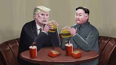 Animation still of Trump and Kim