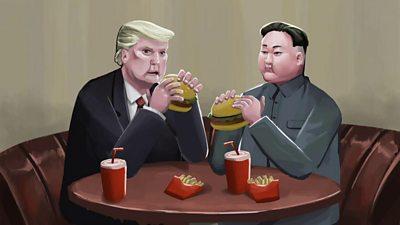 Animation still of Trump and Kim