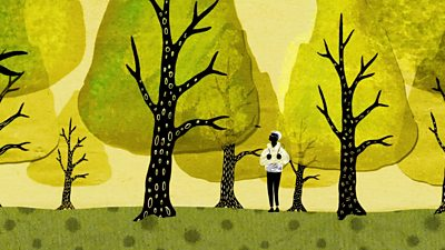 Illustration of someone walking through a wood