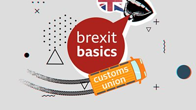 Collage with the words 'Brexit basics' and 'customs union'