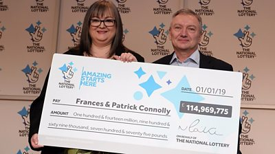 Frances and Patrick Connolly and their winning cheque