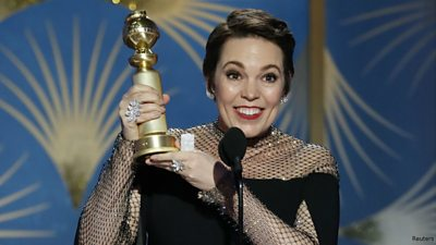 Actress Olivia Colman with her Golden Globe for best actress in a comedy for her role in The Favourite