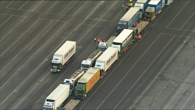 The lorry convoy assembled at Manston airfield
