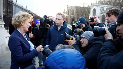 Anna Soubry talks to the media outside the Houses of Parliament in London