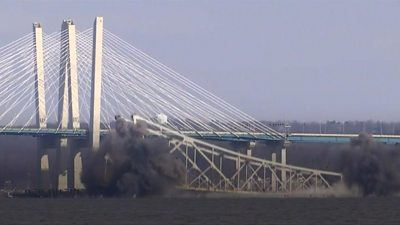 Part of Tappan Zee Bridge demolished