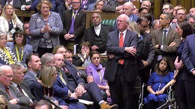 Tulip Siddiq in wheelchair in Commons chamber