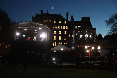 Media crew camped out on College Green