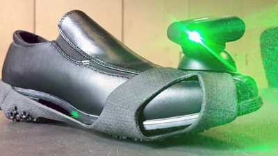 Shoe with laser attached