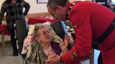 Woman dances with RCMP officer for her 100th birthday