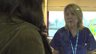 Deborah in her assessment booth