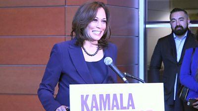 Students describe presidential hopeful Kamala Harris in three words