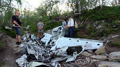 Plane wreckage on mountain