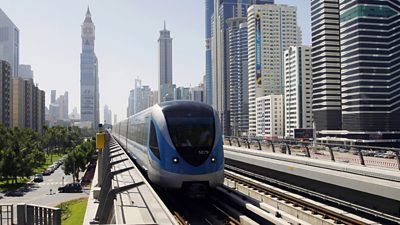 A metro train in Dubai