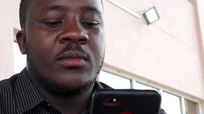 Man ordering food on phone