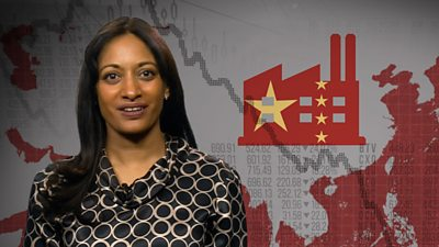 Presenter Dharshini David in front of a map of China with a factory sumbol