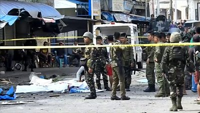 Troops at the scene of the bomb attack