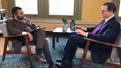 Sir Nick Clegg speaking to Amol Rajan