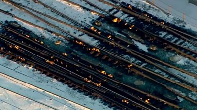 Fire on the train tracks in Chicago