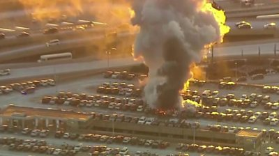 Fire at Newark Airport roof-top car park