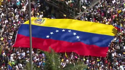 Crowds gather in Caracas, Venezuela