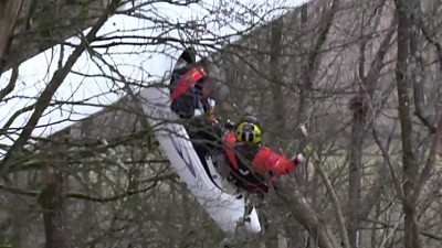 Crashed glider pilot winched to safety