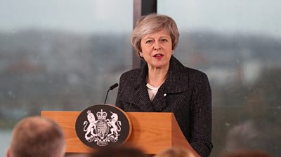 Theresa May gives her speech in Belfast