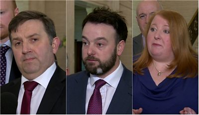 Robin Swann, Colum Eastwood and Naomi Long