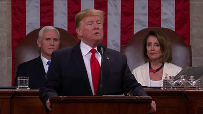 President Trump delivering the speech