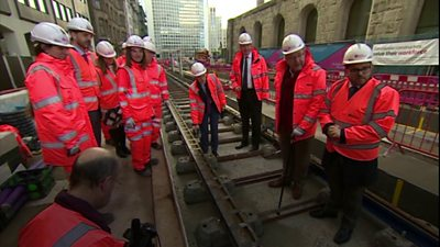 West Midlands mayor Andy Street helped lay the tracks